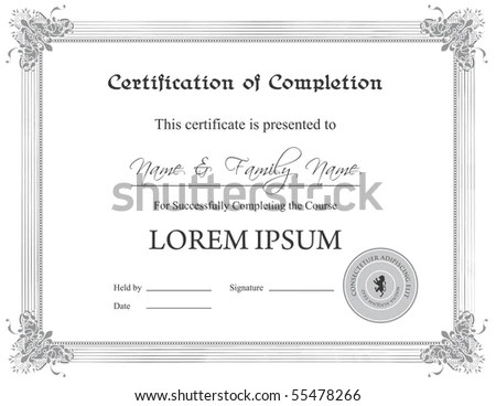 Jpg Certificate Completion Template An Eps Stock Illustration - certification of completion template