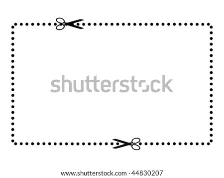 Blank Coupon Voucher Border Pair Scissors Stock Illustration - blank voucher