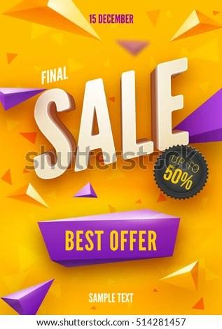 Final Sale Poster Flyer Design 3 D Stock Vector 514281457 - Shutterstock - sale poster design