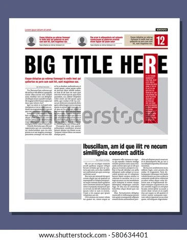 Graphical Design Newspaper Template Stock Vector 135069872 - online newspaper template