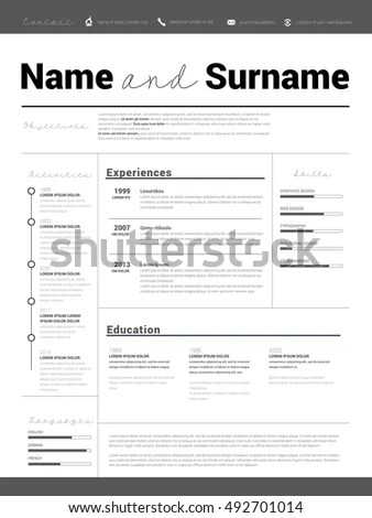 Resume Minimalist CV Resume Template Simple Stock Vector (Royalty