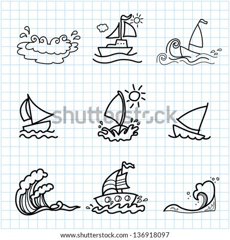 Hand Drawing Cartoon On Graph Paper Stock Vector 136918097