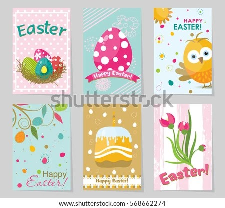 Set Colored Easter Greeting Cards Design Stock Vector 568662274 - easter greeting card template