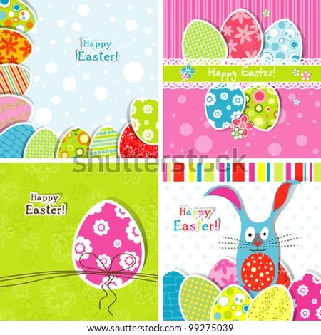 Collection Easter Greeting Cards Stock Vector 185569757 - Shutterstock - easter greeting card template