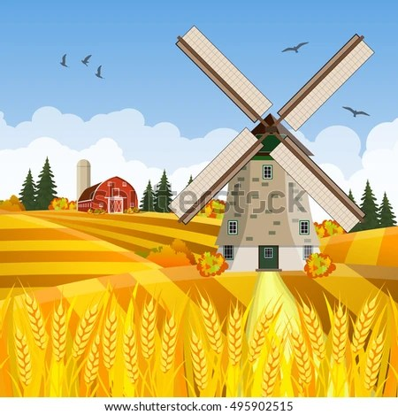 Old Windmill In Fall Grass Wallpaper Stock Images Royalty Free Images Amp Vectors Shutterstock