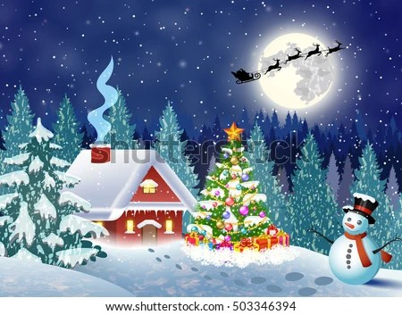 3d Snowy Cottage Animated Wallpaper Windows 7 House Snowy Christmas Landscape Night Christmas Stock
