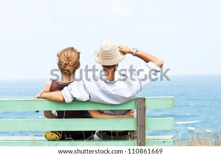 Lovely couple looking forward - stock photo