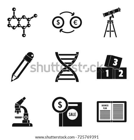 Scientific Report Icons Set Simple Set Stock Vector 725769391 - scientific report