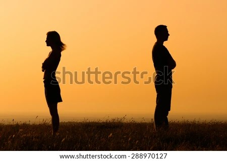 Boy Girl Love Wallpapers Mobile Silhouette Angry Woman Man On Each Stock Photo Royalty