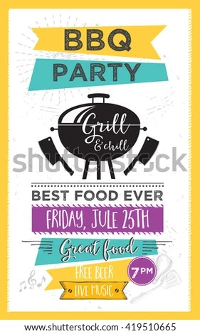 Barbecue Party Invitation Bbq Template Menu Stock Vector 275039462 - bbq flyer
