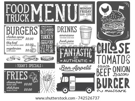 Food Truck Menu Street Festival Design Stock Vector 742526737 - food truck menu template