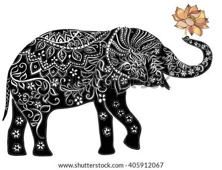 Cute Henna Wallpapers Elephant Silhouette Elephant Indian Elephant Stock Vector