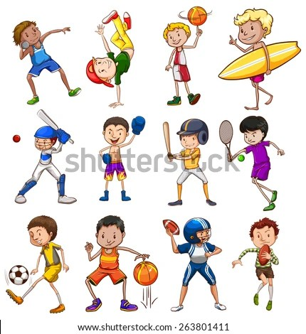 Children Playing Different Types Sports Illustration Stock Vector