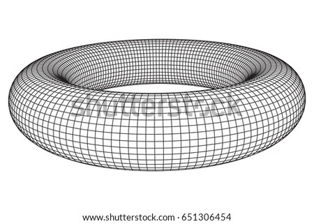 Abstract Wireframe Torus Donut Vector Technology Stock Vector - donut template