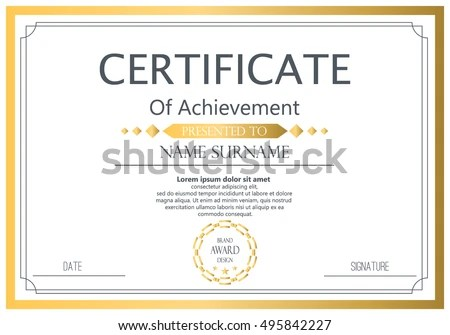Vector Certificate Template Vector Award Graduation Stock Vector