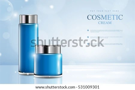 Cosmetic Product Poster Blue Bottle Package Stock Photo (Photo - product poster