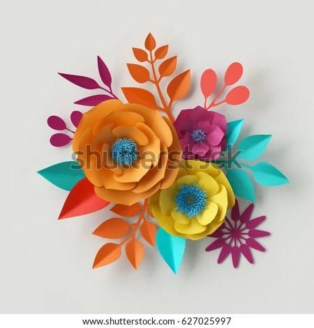 Orange Fall Peony Wallpaper 3d Render Digital Illustration Colorful Paper Stock