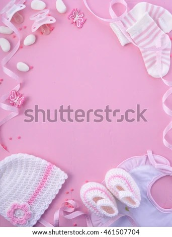 Cute Newborn Baby Girl Wallpapers Girl Pink Theme Baby Shower Nursery Stock Photo Royalty