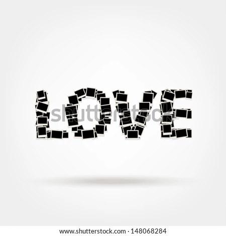 Love Word Made Photo Frames Insert Stock Vector 148068284 - Shutterstock - word design frames