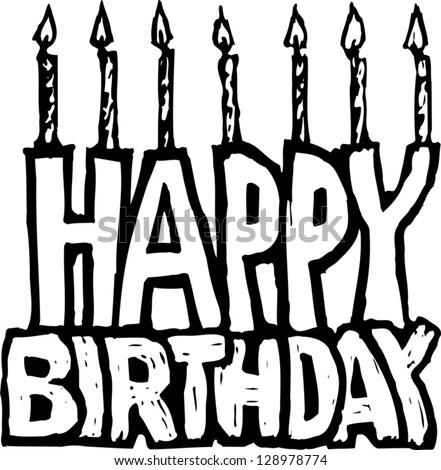 Black White Vector Illustration Happy Birthday Stock Vector (Royalty