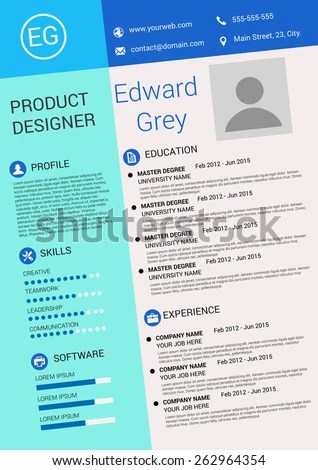 Vector Illustration Artistic Resume Design Template Stock Vector - artistic resume
