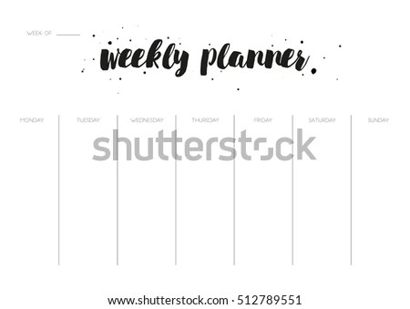 Minimal Weekly Planner Vector Template Printable Stock Vector HD - Free Printable Weekly Planner