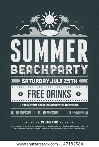 Retro Summer Party Design Poster Flyer Stock Vector 147182564