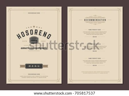 Restaurant Logo Menu Design Vector Brochure Stock Vector 705817537