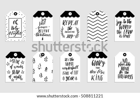 Collection Stylish Black White Gold New Stock Vector 508811221 - christmas cards black and white