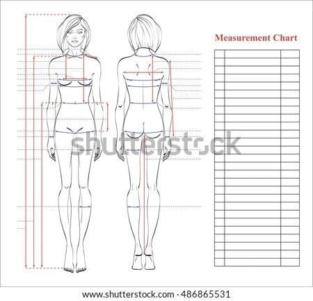 Woman Body Measurement Chart Scheme Measurement Stock Vector (2018