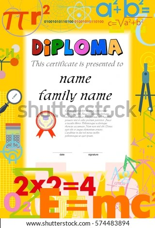 Diploma Template Kids Certificate Background Scientific Stock - certificate template for kids