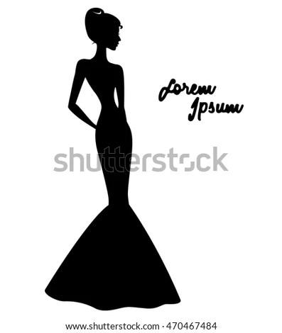 Elegant Silhouette Woman Long Dress Stock Vector (Royalty Free
