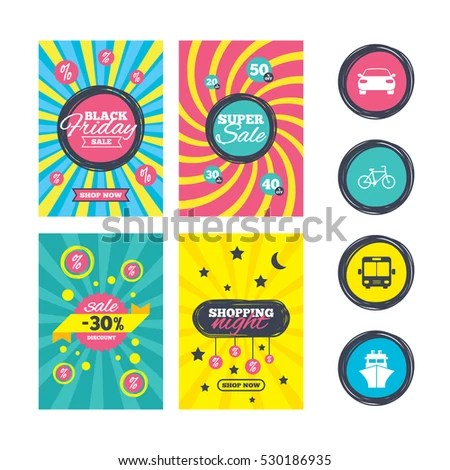 Sale Website Banner Templates Clothes Icons Stock Illustration - car sale sign template