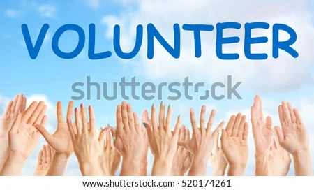 Hands Word VOLUNTEER On Blue Sky Stock Photo  Image (Royalty-Free - help and support