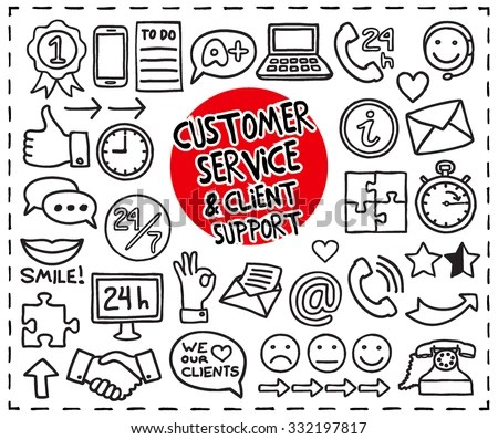 Doodle Customer Service Icons Set Hand Stock Vector (2018) 332197817
