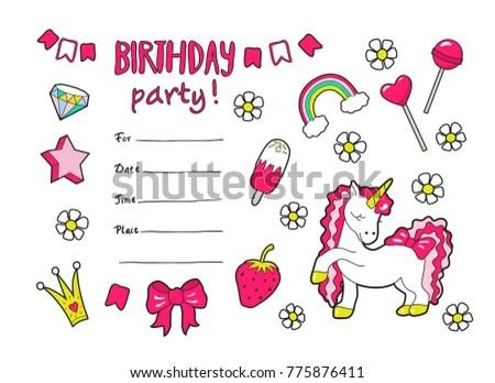 Cute Vector Girls Birthday Party Invitation Stock Vector 775876411 - girl birthday party invitations
