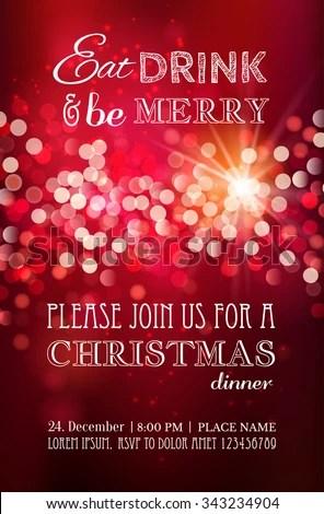 Christmas Party Dinner Invitation Poster Flyer Stock Vector