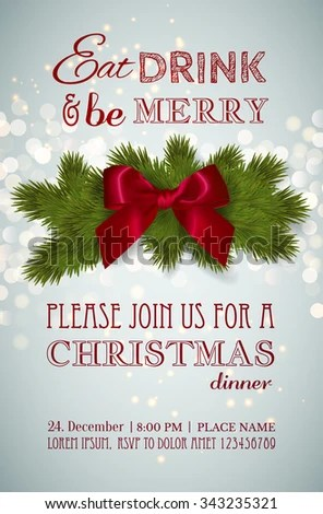 Christmas Party Dinner Invitation Poster Flyer Stock Vector (Royalty - christmas luncheon flyer
