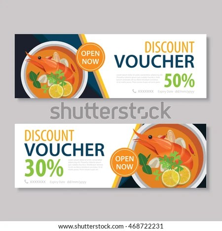 Discount Voucher Template Thai Food Flat Stock Photo (Photo, Vector - lunch voucher template
