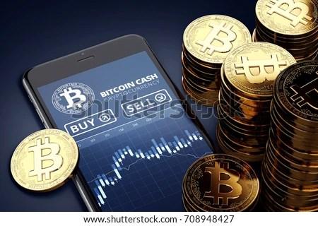 Crypto Wallpaper 3d Smartphone Bitcoin Cash Trading Chart Onscreen Stock