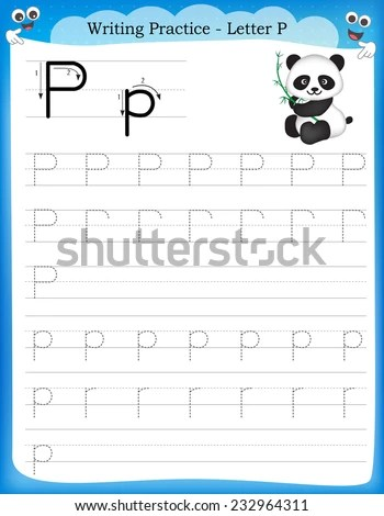 Writing Practice Letter P Printable Worksheet Stock Vector (2018
