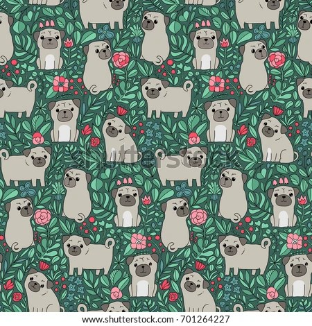 Cute Pug Wallpaper Cartoon Seamless Pattern Funny Swedish Folk Cartoon Stock Vector