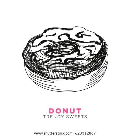 Vector Hand Drawn Donut Illustration Sketch Stock Vector 623312867