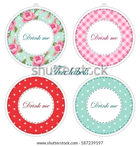Tea Party Printables Tea Labelscupcake Toppers Stock Vector (2018