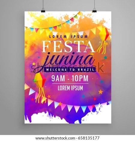 Festa Junina Party Celebration Invitation Flyer Stock Vector - invitation flyer sample