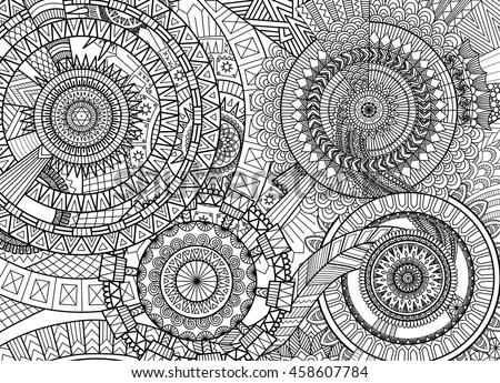 Complex Mandala Movement Design Adult Coloring Stock Vector