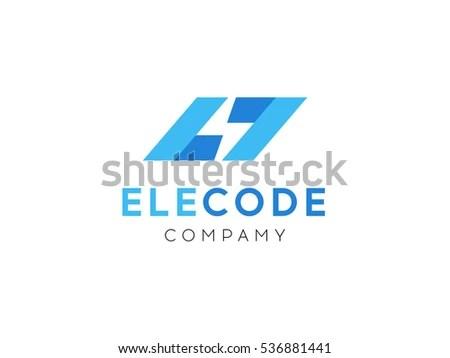 Electrical Code Logo Concept HTML Code Stock Vector 536881441 - html template code