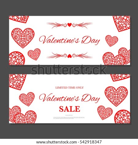 Valentines Day Gift Coupon Gift Voucher Stock Vector HD (Royalty - coupon voucher template