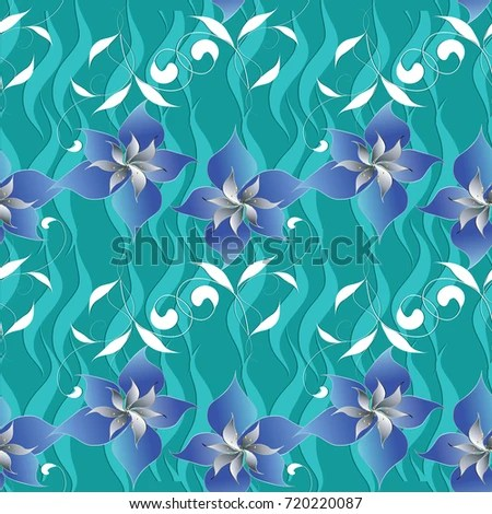 Floral Elegance Seamless Pattern Vector Turquoise Stock Vector (2018