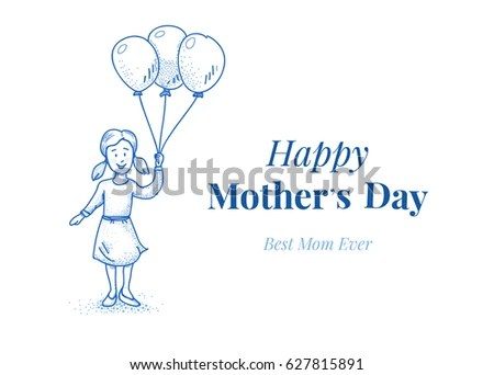 Happy Mothers Day Card Template Daughter Stock Vector 627815891